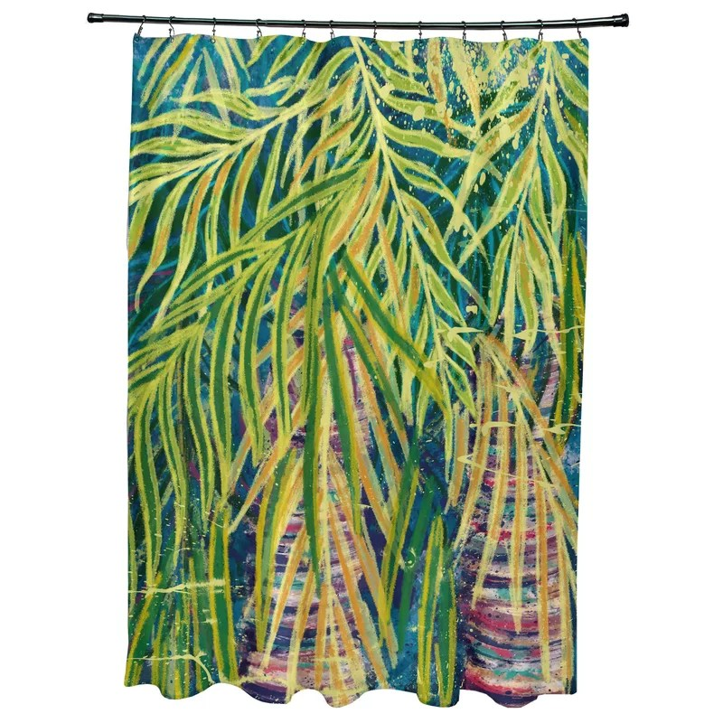 Sanchezia Floral Print Single Shower Curtain Color: Teal