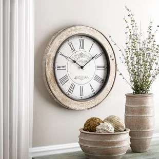 living room wall clocks simple ceiling designs for 2016 you ll love wayfair 24 round wood clock