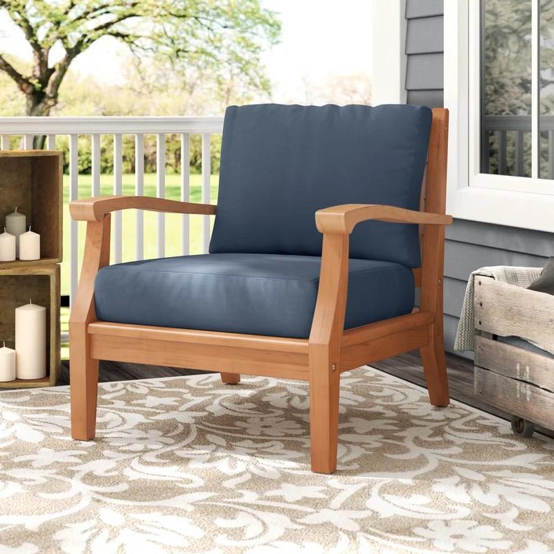 miramar teak patio chair with sunbrella cushions