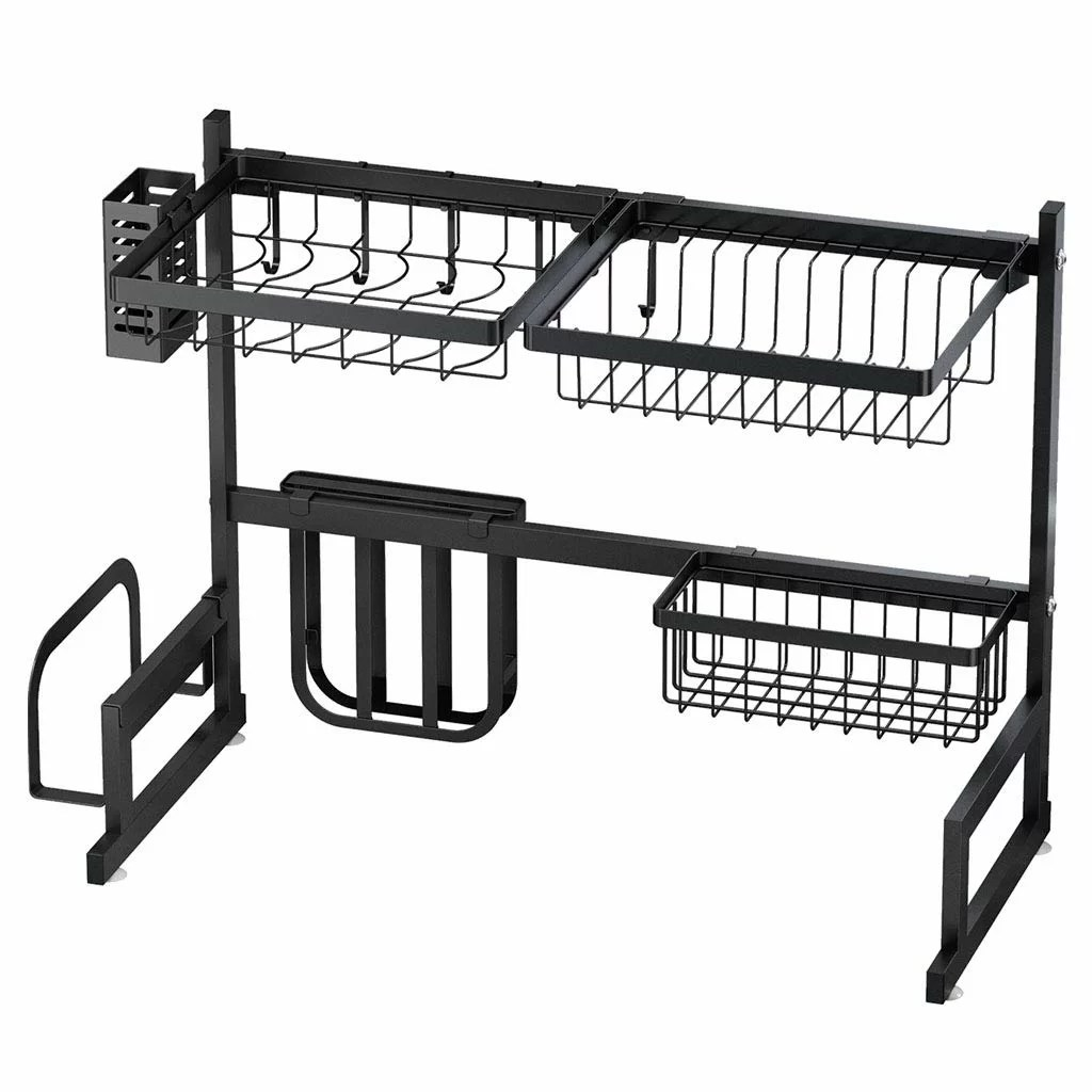 drying over sink stainless steel shelf 2 tier utensils holder display stand dish rack