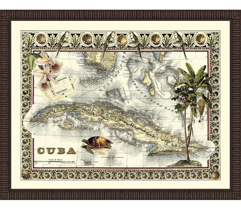 Trends Tropical Map of Cuba Framed Graphic Art