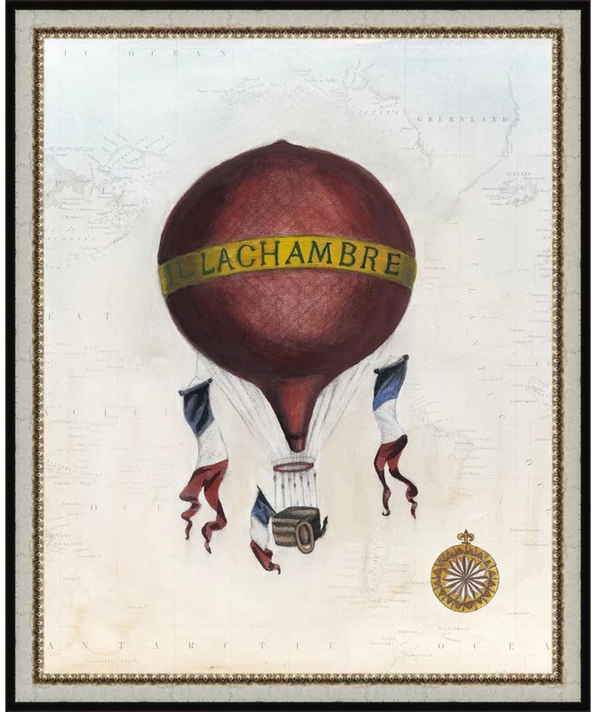 Trends Vintage Hot Air Balloons III Framed Graphic Art