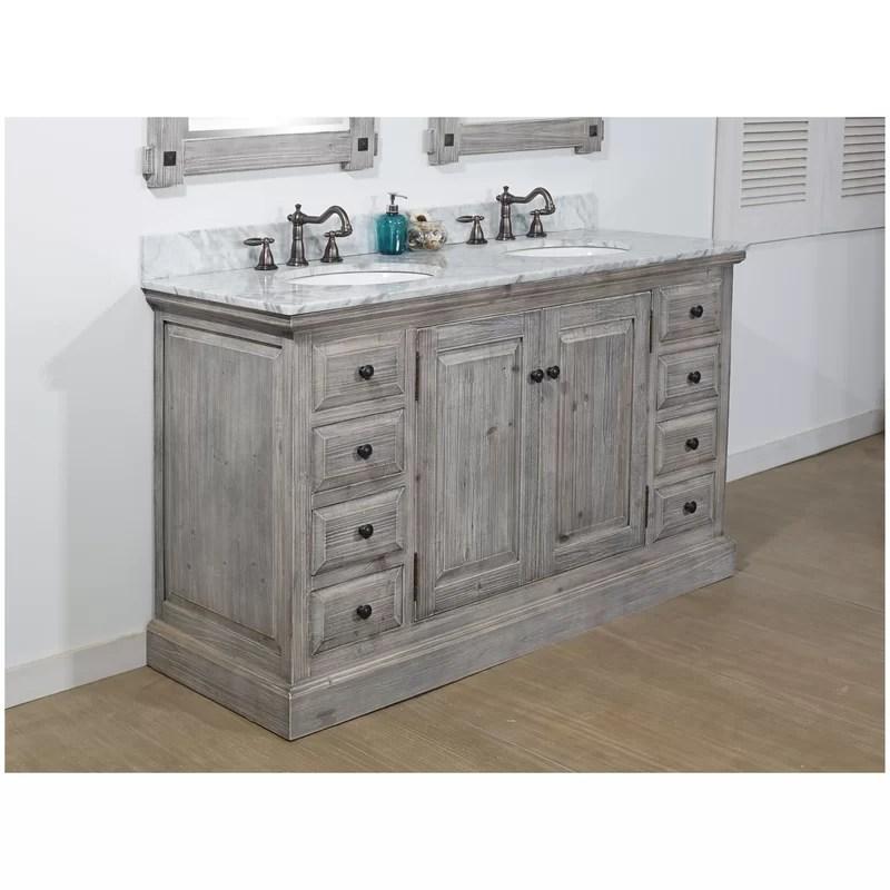 Laurel Foundry Modern Farmhouse Carlton 60 Rustic 2 Sink Bathroom Vanity Set Reviews Wayfair