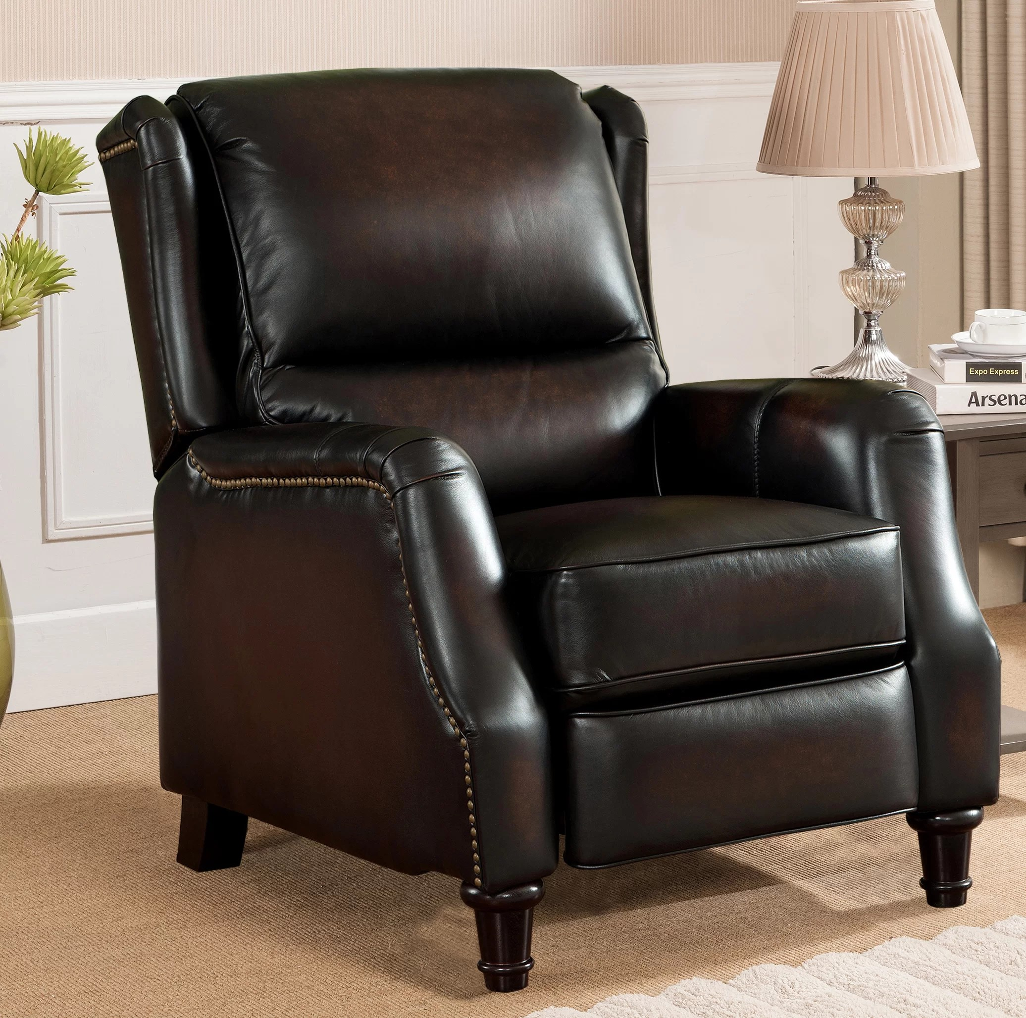 Wingback Recliner Chair Aguiar Wingback Leather Manual Recliner