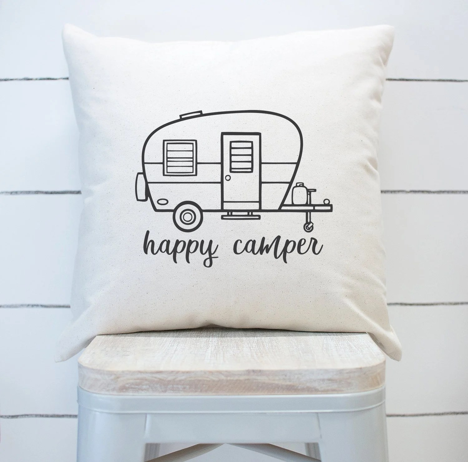 coucher happy camper square pillow cover