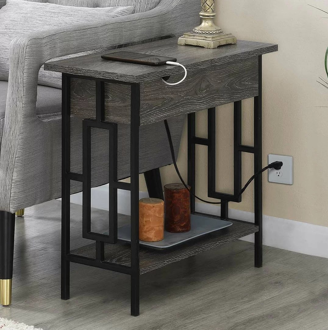 end table with storage and built in outlets