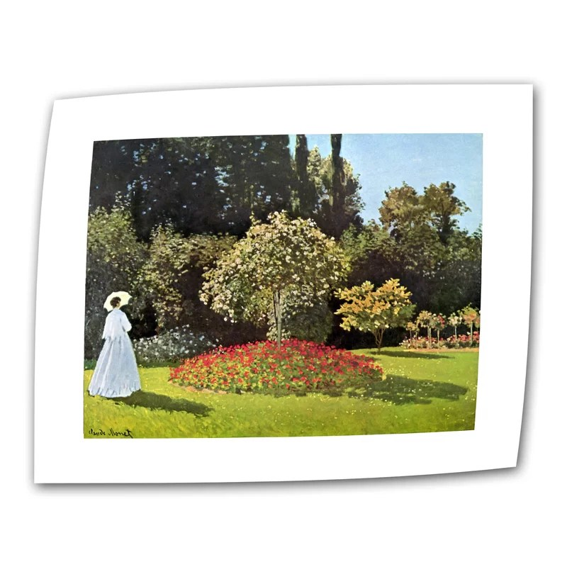 Woman in Park with Poppies by Claude Monet Print of Painting on Rolled Canvas Size: 24 H x 32 W