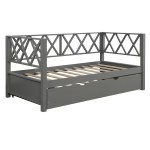 Longshore Tides Wood Daybed With Trundle Twin Size Daybed No Box Spring Needed X Shaped Back Design Grey Wayfair Ca