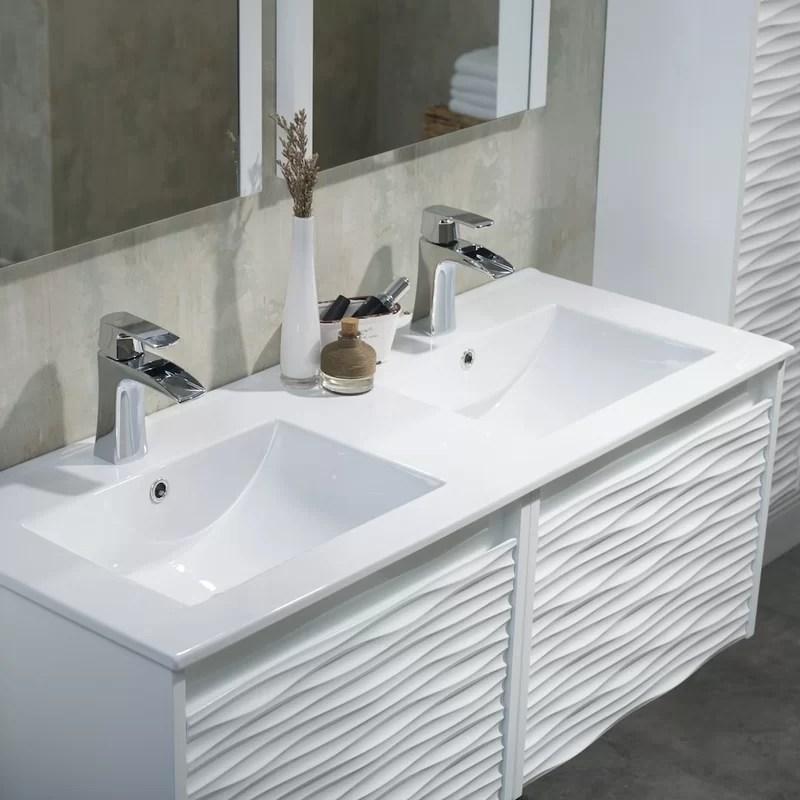 Ivy Bronx Artesian 48 Wall Mounted Double Bathroom Vanity Set With Mirror Wayfair