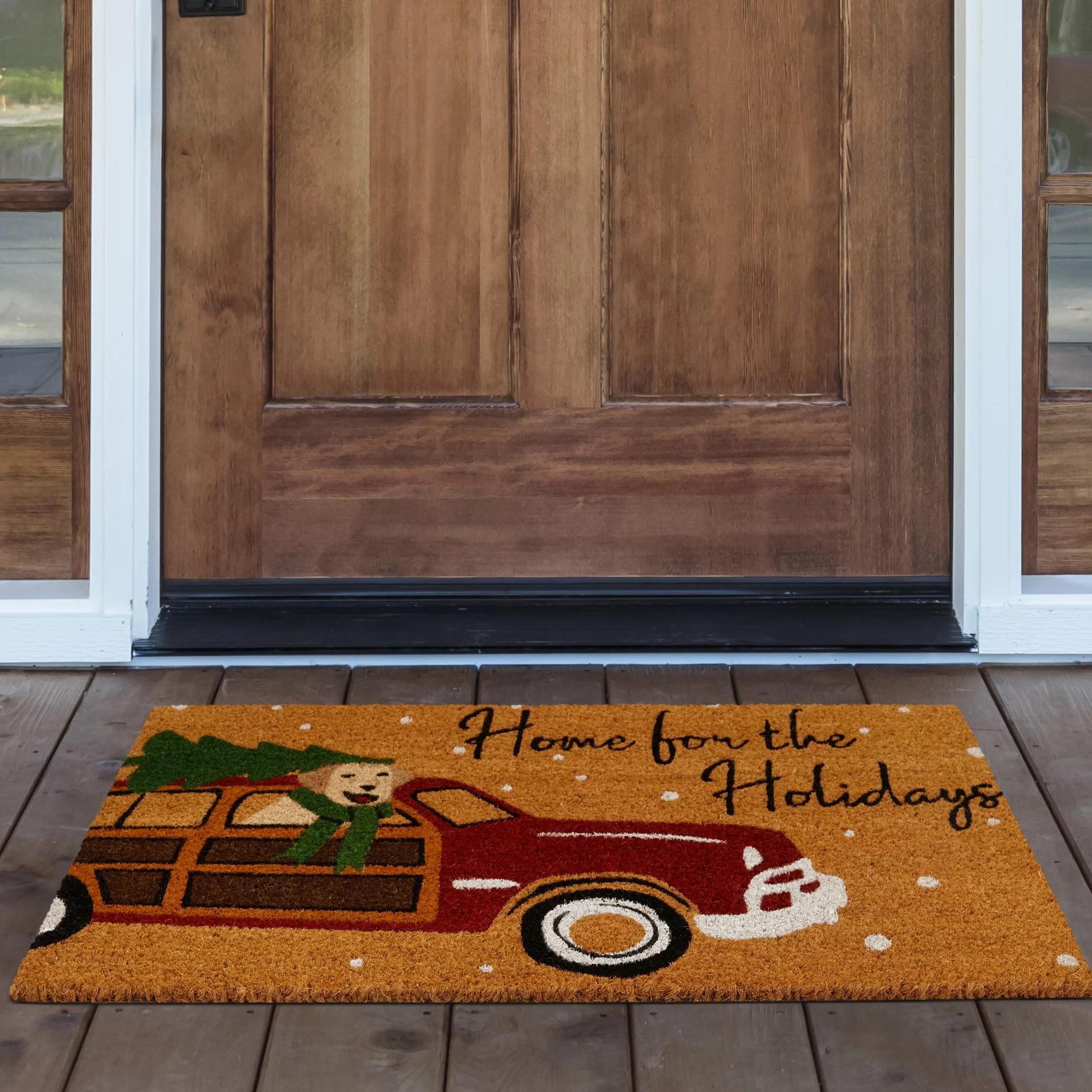 Floor Mats Cat Snowman On Black Nonskid Printed Kitchen Rug 18 X 30 Merry Christmas Fabrizia Com Au