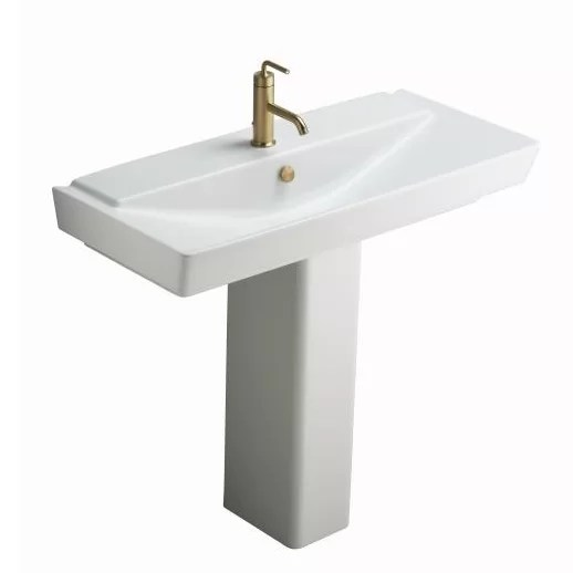 reve ceramic pedestal bathroom sink with overflow