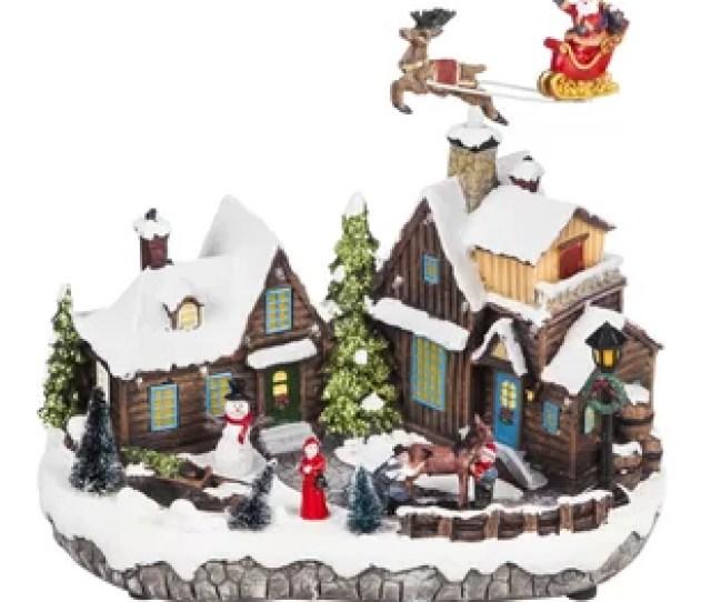 Santa And Christmas Village Led Scene