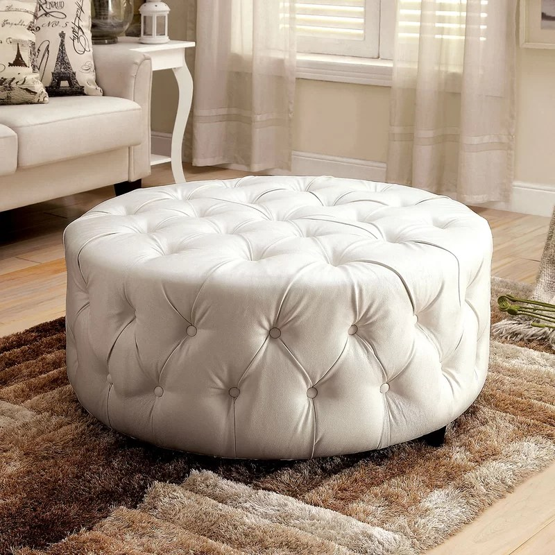 Cocktail Ottoman Upholstery: Bright White