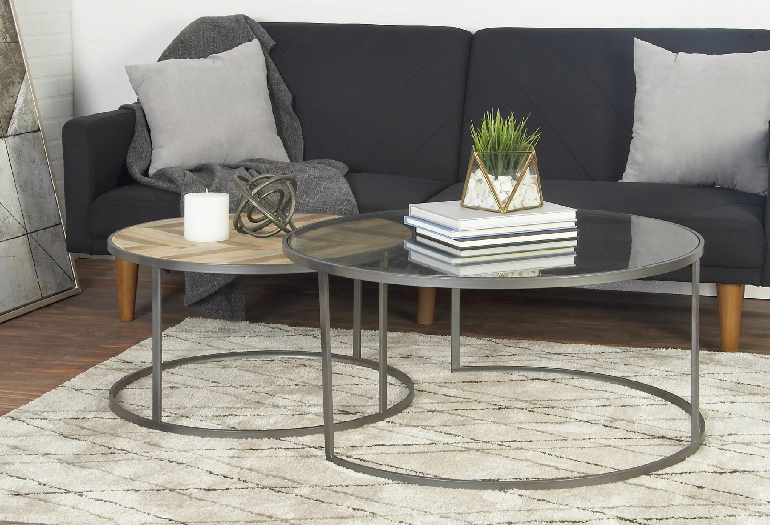 orkney contemporary 2 piece coffee table set