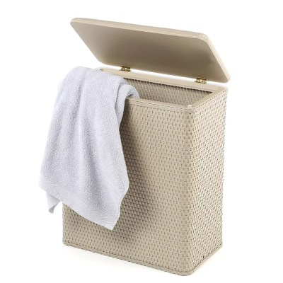 Upright Wicker Laundry Hamper