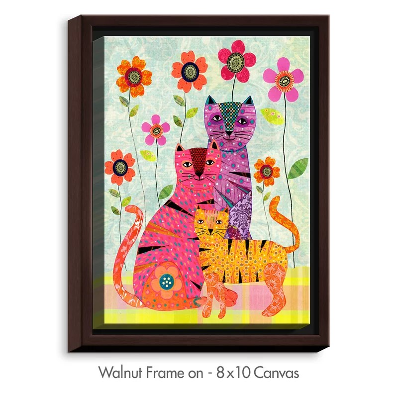Cat Family by Sascalia Graphic Art on Wrapped Framed Canvas Size: 15.75 H x 12.75 W x 1.75 D Frame Color: Walnut