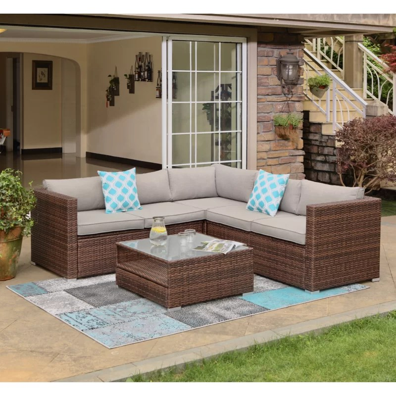 newagen 4 piece outdoor furniture set mottlewood brown wicker sofa w warm gray cushions glass coffee table 2 teal pillows incl waterproof cover
