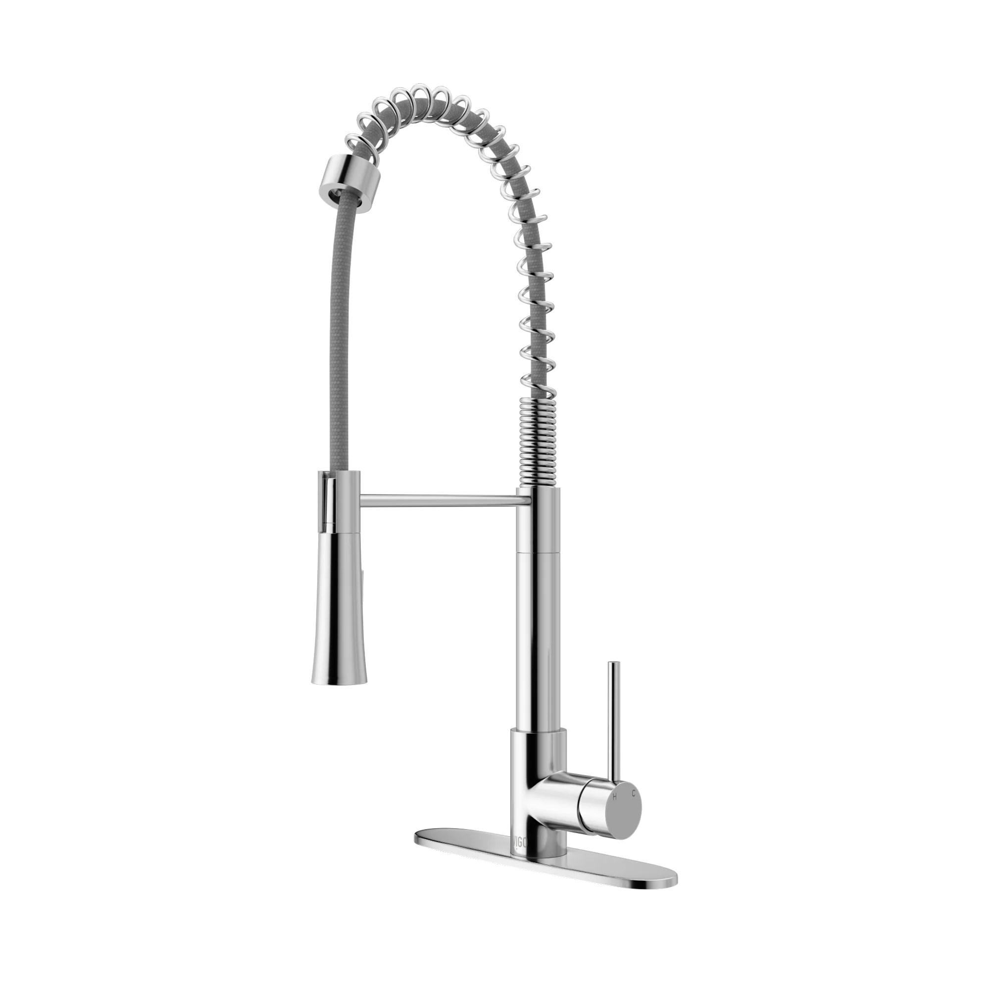 single kitchen faucet black mat rugs vigo laurelton pull down handle reviews vg02022chk1