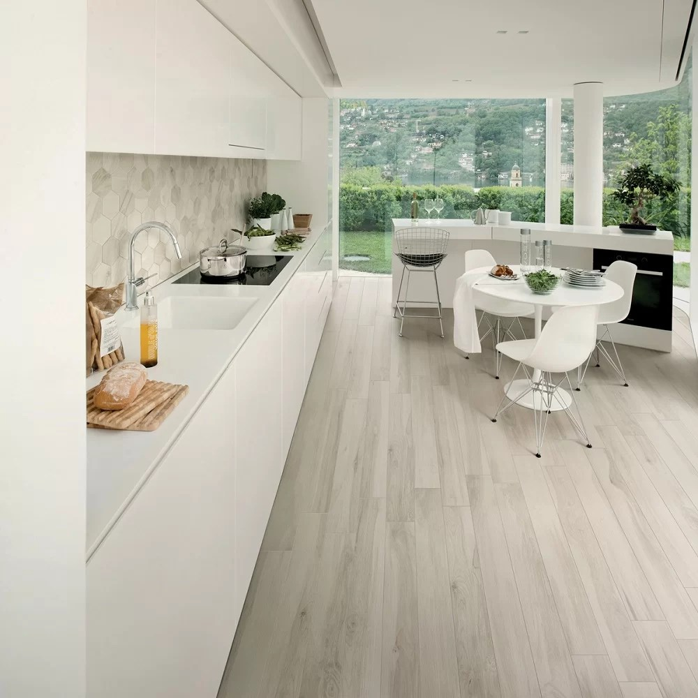 abete 10 x 40 porcelain wood look tile in light tan gray