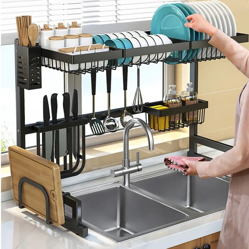 stainless steel over the sink dish rack
