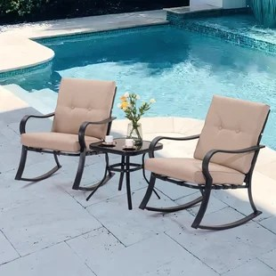 winston porter 3 piece outdoor rocking bistro set with coffee table for garden lawn patio chairs for poolside porch red