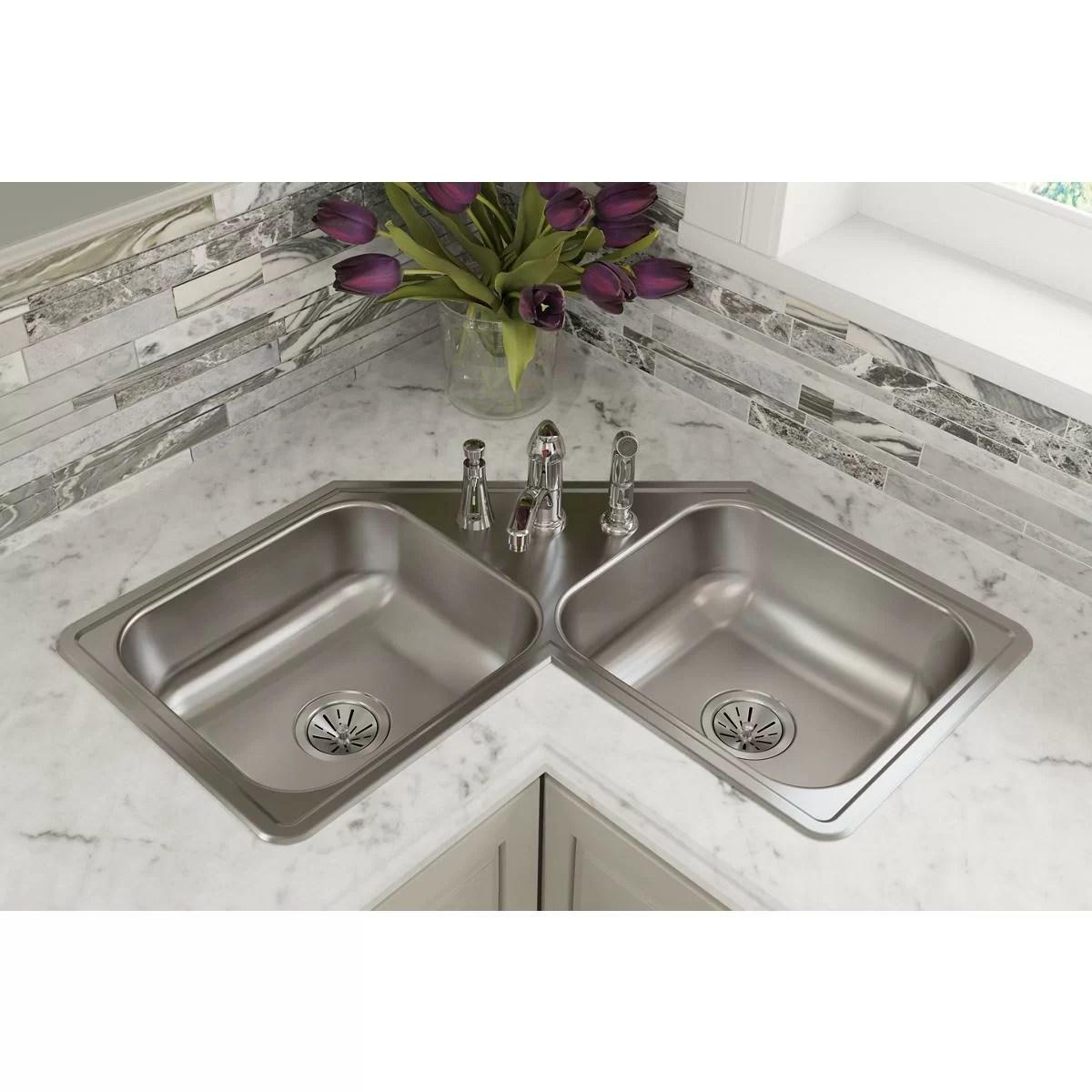 dayton 32 l x 32 w double basin drop in kitchen sink