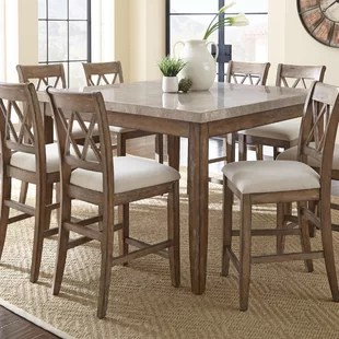high top kitchen table set white chair farmhouse dining tables birch lane portneuf counter height
