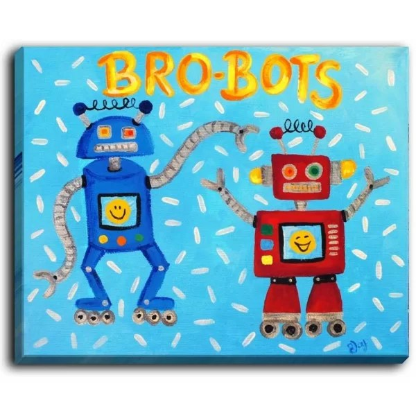 Brobots by NJoy Art Painting Print on Wrapped Canvas Size: 30 H x 40 W x 1.5 D