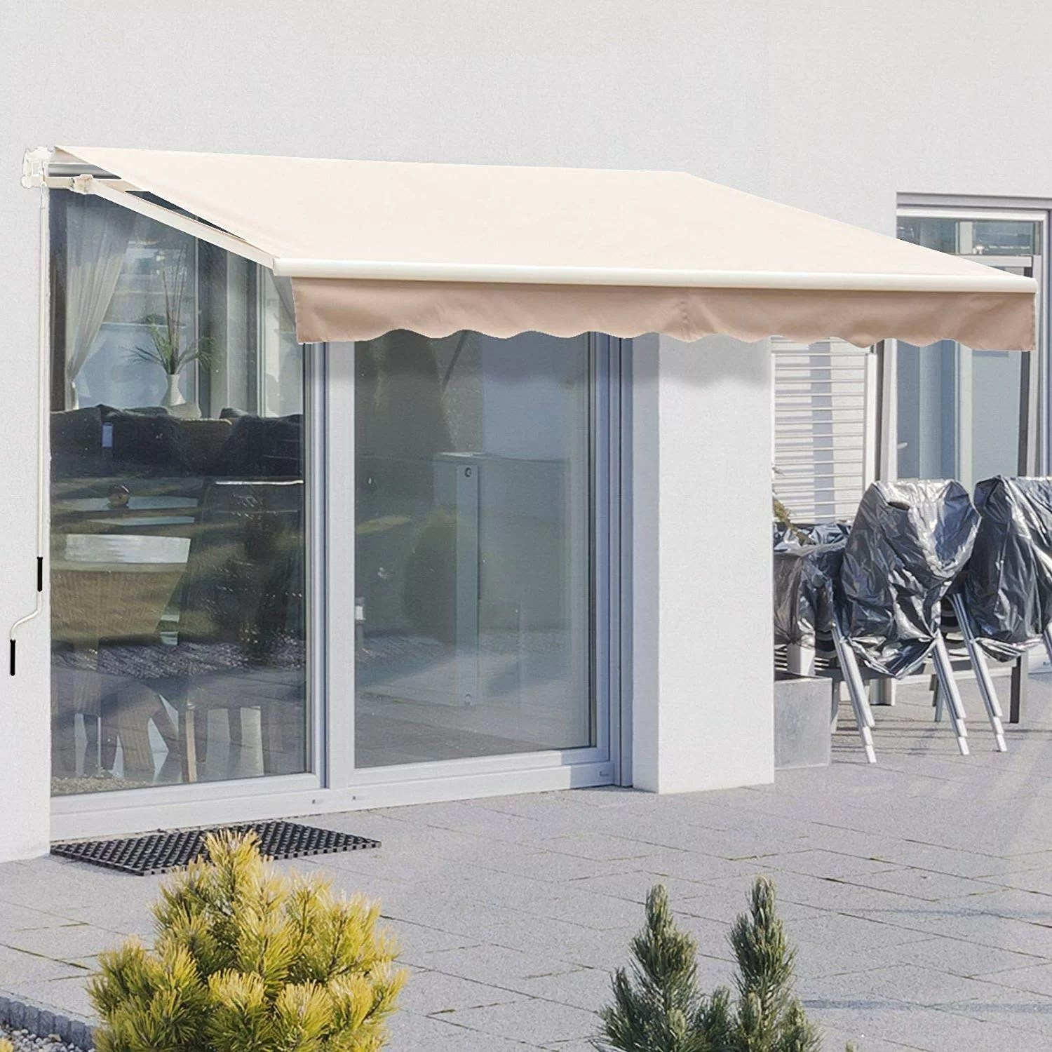 8 ft w x 7 ft d fabric retractable standard patio awning