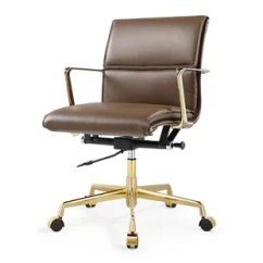 Wood And Leather Office Chair Costco Table Chairs Tan Desk Wayfair Italian