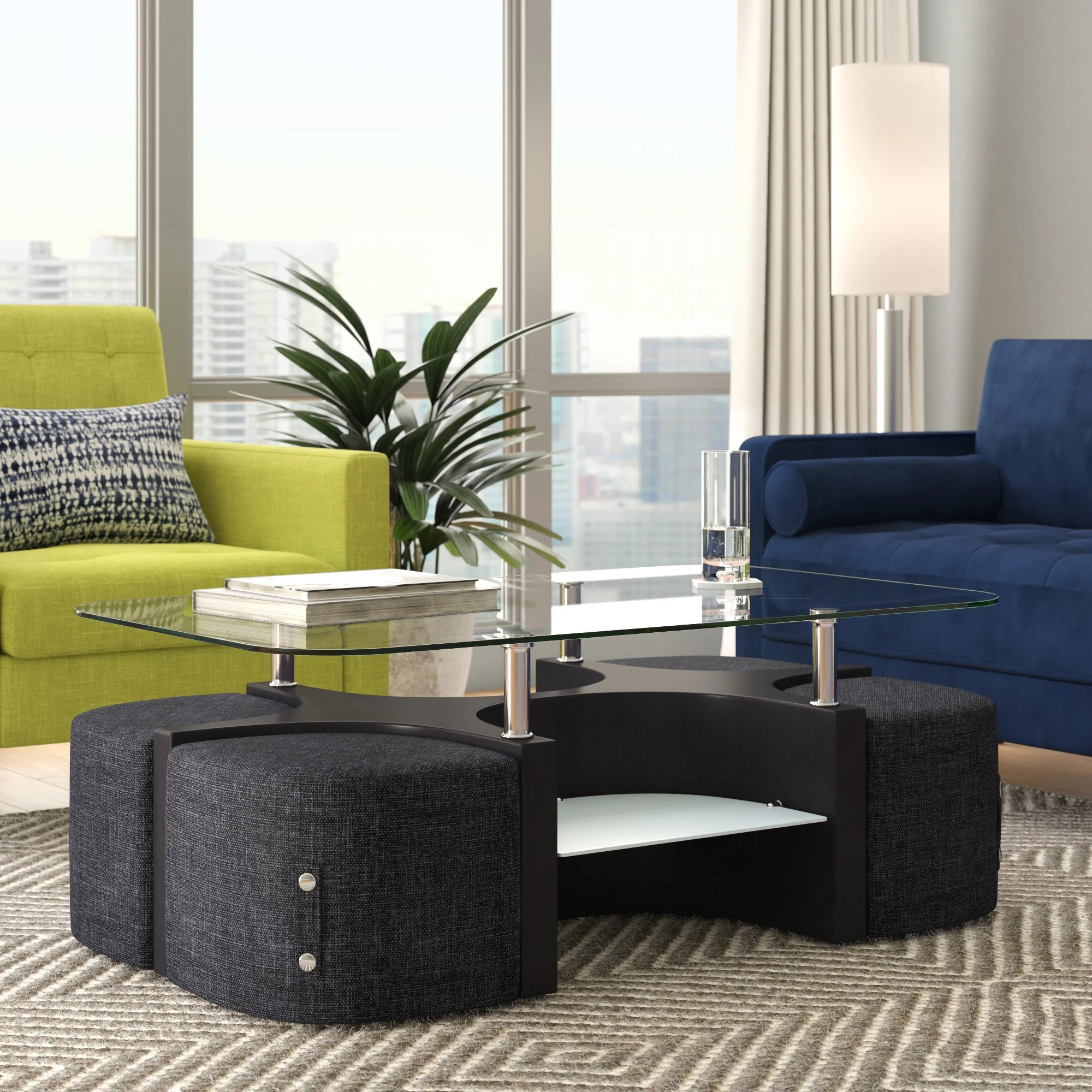 kingsfield coffee table with 4 nested stools