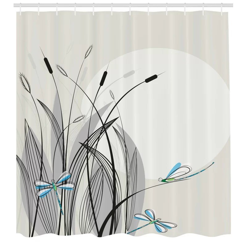 dragonfly shower curtain set hooks