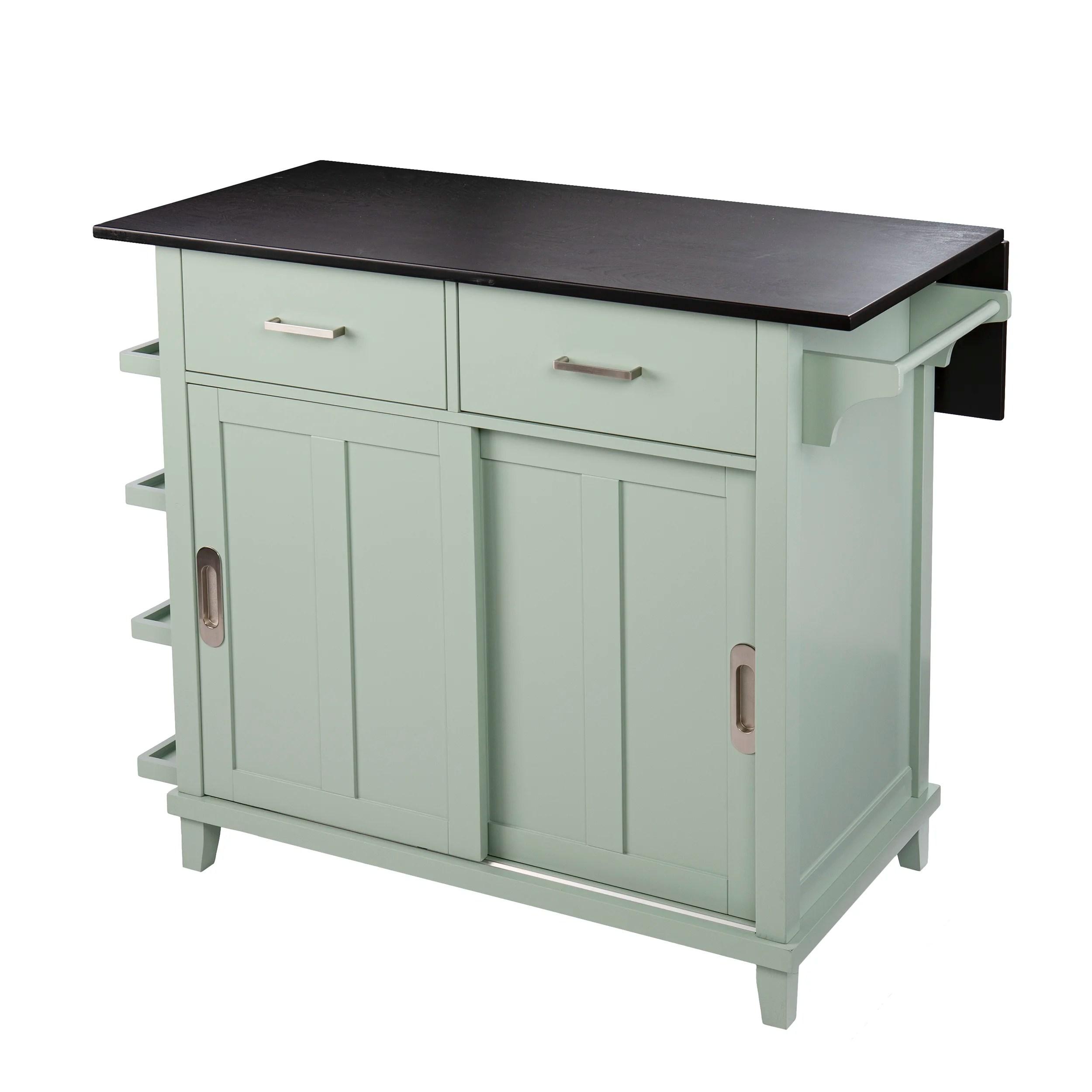 Longshore Tides Ollerton Freestanding Kitchen Island Mint Green And Black Reviews