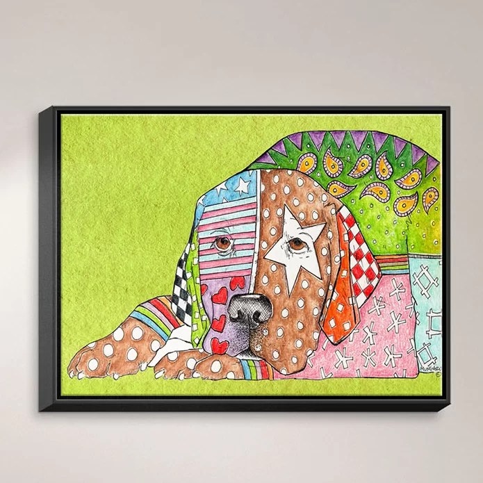 Labrador Retriever Dog by Marley Ungaro Painting Print on Wrapped Framed Canvas Size: 12.75 H x 15.75 W x 1.75 D Frame Color: Black