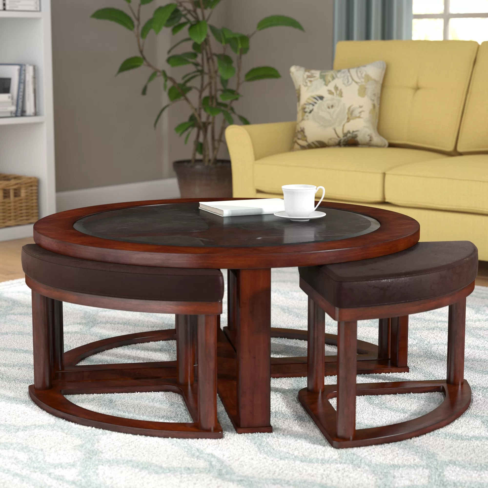 no coffee table living room inexpensive chairs darby home co eastin with nested stools reviews wayfair