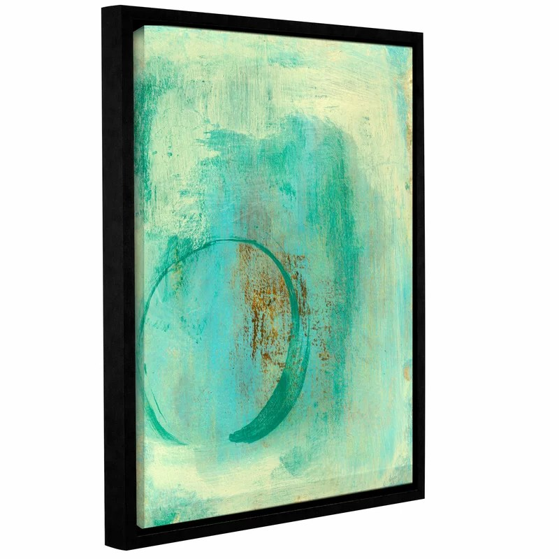 Teal Enso by Elena Ray Framed Painting Print on Wrapped Canvas Size: 48 H x 36 W