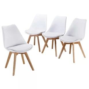 white plastic dining chairs recliner chair indiamart acrylic kitchen you ll love wayfair buie upholstered set of 4
