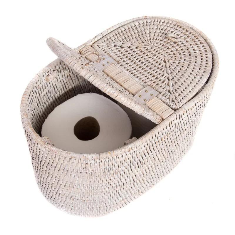 Rattan Tissue Box Cover Color: White Wash