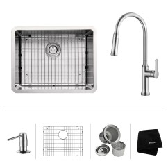 Kraus Kitchen Faucet Sink Strainers Khu101 23 1630 42ch Ss Combos L X 18 W Undermount With Soap Dispenser