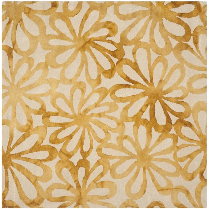 Hand-Tufted Wool Beige/Gold Area Rug Rug Size: Square 7