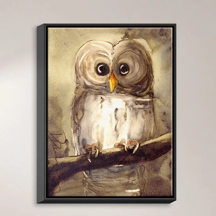 Redbird Cottage Owl by Dawn Derman Painting Print on Wrapped Framed Canvas Size: 21.75 H x 17.75 W x 1.75 D Frame Color: Black