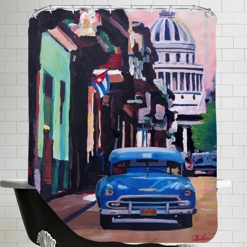 Markus Bleichner Weesner Cuban Old-timer Street Scene in Havanna Cuba with Buena Vista Feeling Poster 2 Single Shower Curtain