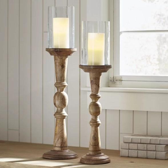 2 Piece Tall Glass and Wood Hurricane Set