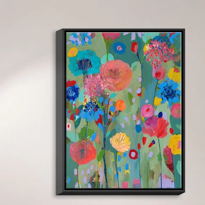 Dreamscape Flowers by Carrie Schmitt Painting Print on Wrapped Framed Canvas Size: 25.75 H x 19.75 W x 1.75 D Format: Black Framed