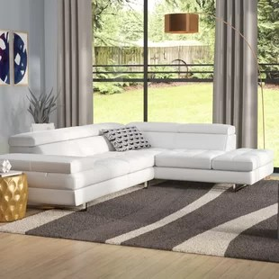 decorate living room white leather sofa color ideas for grey furniture modern contemporary allmodern hugo sectional