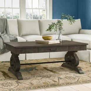 voyager solid wood trestle coffee table