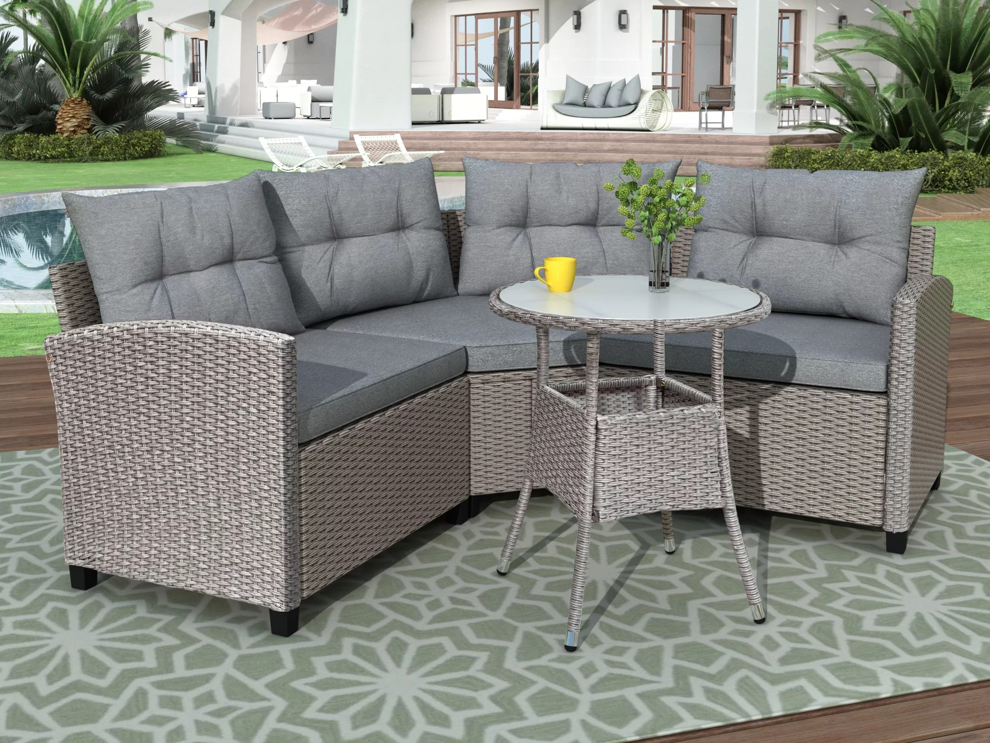 4 piece resin wicker patio furniture set with round table gray cushions