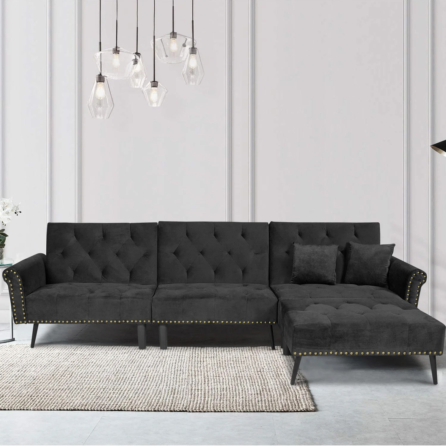 modern l shaped sectional sofa bed convertible reversible couch sleeper with chaise in microfiber and solid wood legs for living room small spaces