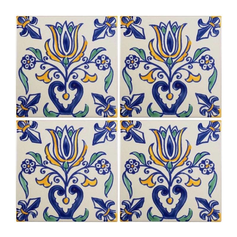 mediterranean 4 x 4 ceramic tulip decorative tile in blue