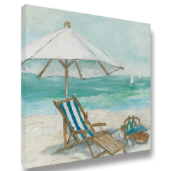Canvas Beach Chair Stool Pictures Highland Dunes Umbrella 01 Acrylic Painting Print On Wrapped Wayfair